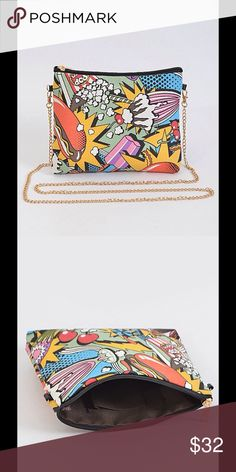 Junk food maniac!!! Clutch bag Colorful clutch bag that has a gold chain strap that's removable. Super cute and stylish!! Bags Clutches & Wristlets