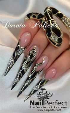 Give your clients powerful, sexy nails! Nail artist Dorota Palicka designed these inspired by the snake, using transfer foil on the thumb, index, and pinky fingers. Long Stiletto Nails, Sexy Nails, Fancy Nails, Bling Nails, Crazy Nail Art, Pretty Nail Art, Beautiful Nail Art, Fabulous Nails, Gorgeous Nails