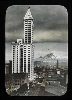 Smith Tower & Mt. Rainier, Seattle, 1914.  For years, the tallest building west of the Mississippi!