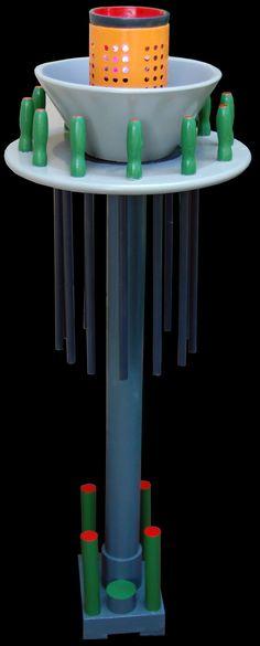 Lampada votiva (per tecnologia ricevuta) legno dipinto e lampada led luci rgb, cm 112x42x42, 2016
