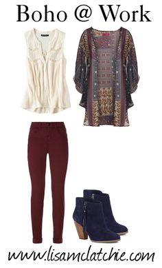 The Bohemian trend has now become a full on Personal Style for some. Hippie chic is cool on the weekend, but what if you want to wear your boho style at work? Here's some ideas on how to do it. Look Boho Chic, Style Boho, Bohemian Style Clothing, My Style, Bohemian Fashion, Boho Fashion Winter, Boho Work Outfit, Hippie Chic Outfits, Hippie Chic