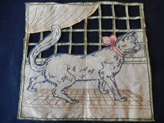 Vintage French embroidered linen cat pillow front by abfabs10