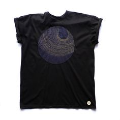 Exclusive Moon Sashiko Stitched T-shirt Handmade Applique