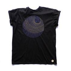 Exclusive Moon Sashiko Stitched T-shirt Handmade Applique