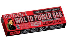 Nietzsche's WILL TO POWER Bar  * Chewy and delicious fruit and nut bar    * Fun packaging lets you get in touch with your inner Ubermensch    * Includes foldout four panel box full of fun and activity (including a cut-out Nietzsche mustache)