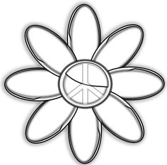 Peace Symbol Peace Sign Flower 16 Black White Line Art Tattoo Tatoo 555px.png.  without peace sign