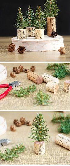 que faire avec des bouchons, décoration diy avec bouchons de liège, petits cônes et branches de sapin