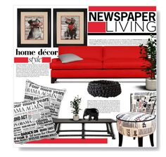 """""""Newspaper Living"""" by juliehalloran ❤ liked on Polyvore featuring interior, interiors, interior design, home, home decor, interior decorating, Universal Lighting and Decor, Avenue, Thrive and Haze"""