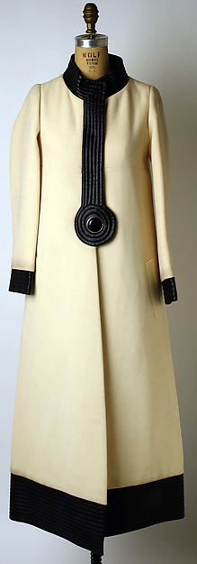 Designer: Pierre Cardin  (French, born San Biagio di Callalta, Italy, 1922) Date: 1969 Culture: French Medium: wool, plastic, metal Dimensions: (a) Length at CB: 54 1/2 in. (138.4 cm) (c) Length at CB: 12 in. (30.5 cm) (e) Diameter: 8 in. (20.3 cm) (f, g) Height: 6 3/4 in. (17.1 cm) Credit Line: Gift of Pierre Cardin, 1977 Accession Number: 1977.25.4a–g