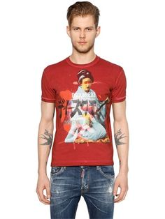 DSQUARED2 Geisha Printed Washed Jersey T-Shirt, Red. #dsquared2 #cloth #t-shirts