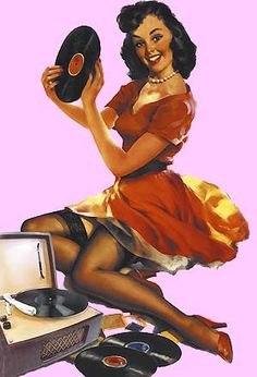 Pinup girl and her record player