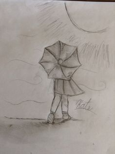 Girl with umbrella drawing... Love it!!!