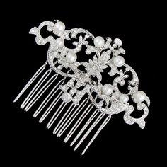 Luxury Wedding Royal Court Ivory Pearls Hair Comb, Clear Swarovski Crystal Rhinestone Bridal Headpiece, Bridesmaid Gift-121267721. $18.99, via Etsy.
