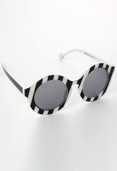 9fff45b77e9 Stripe Pattern Round Sunglasses