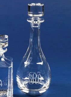 Monogrammed Crystal Wine Decanter.  Love this idea for a wedding gift.