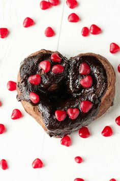Chocolate-Cinnamon Cinnamon Rolls: Chocolate brioche, chocolate-cinnamon filling, chocolate ganache, and red hots make a perfect Valentine breakfast.