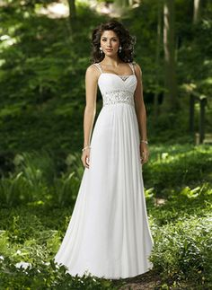 Wedding Dresses - $132.99 - Charming A-Line/Princess Regular straps Chapel Train Chiffon Charmeuse Wedding Dress With Ruffle Beadwork (002004113) jenjenhouse.com