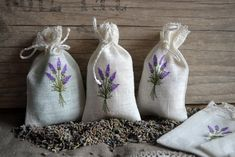 Linen Lavender Bags With Lavender Embroidery Gift Bags by linenthings on Etsy https://www.etsy.com/uk/listing/219935930/linen-lavender-bags-with-lavender