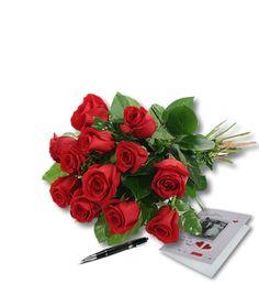 Rode rozen aan huis geleverd.