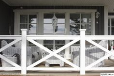 Deck railing isn't simply a safety and security feature. It can include a magnificent aesthetic to frame a decked location or deck. These 36 deck railing ideas show you exactly how it's done! Front Porch Railings, Porch Doors, Deck Railings, How To Build Porch Railing, Front Porch Deck, Railing Design, Deck Design, Railing Ideas, Exterior House Colors