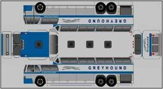 Easy-To-Build Classic Greyhound Bus Paper Model - by Norbtach Paper Airplane Models, Paper Model Car, Paper Car, Paper Models, Cardboard Toys, Paper Toys, Ho Trains, Model Trains, Paper Train