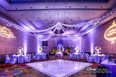 Consider pipe and drape, uplighting or a gobo to transform an ordinary ballroom into extraordinary. #lighting #wedding #disney