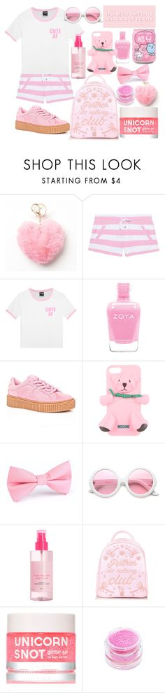"""""""Lazy Pink"""" by drhumanguy ❤ liked on Polyvore featuring Mudd, Juvia, Cape Robbin, Moschino, ZeroUV, H&M, FCTRY, Medusa's Makeup, Summer and cute"""