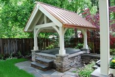 A Gazebo w/ copper roof, stone facade + great posts + beams hides an above ground hot tub. Great steps made from stacked stone w/ large blue stone tops, Hot Tub Gazebo, Hot Tub Deck, Hot Tub Backyard, Backyard Pools, Pool Decks, Backyard Gazebo, Pergola Patio, Outdoor Rooms, Outdoor Living