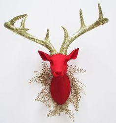 Holiday Deer Head, Deer Head, Stag Head, Red Deer, Christmas Decor, Red Faux Deer Head, Faux Taxidermy, Deer Head Australia, Hodi Home Decor on Etsy, $109.00