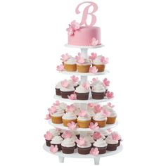 Initial Announcement Cake and Cupcakes - Proudly display the wedded couple's monogram while serving trendy cupcakes at the reception. When stacked together on the Towering Tiers Cake and Dessert Stand, the cake and cupcakes make quite an impression! Cake Stand Display, Cupcake Display, Wilton Cakes, Cupcake Cakes, Cupcake Tier, Cupcake Ideas, Rose Icing, Individual Desserts, Dessert Stand
