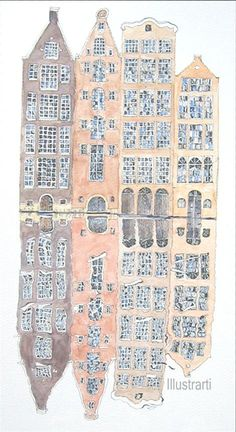 Amsterdam Print Houses on The Canal From an by Illustrarti on Etsy, $20.00
