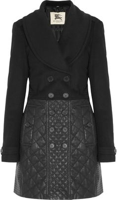 BURBERRY Wool Blend and Quilted Leather Coat  #DeckedOut, #LacedUp  #PinnedUp