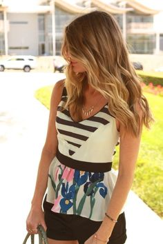 A peplum! A great way to give curves to an athletic build.  Plus stripes and florals?  I'm in!