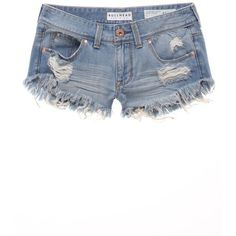 Bullhead Denim Co Extreme Fray Hem Shorts (£19) ❤ liked on Polyvore featuring shorts, bottoms, pants, short, classic indigo, low rise shorts, ripped denim shorts, cotton shorts, low rise short shorts and destroyed jean shorts