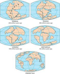 Pangaea....the earth 225 million yrs ago.  Plate Tectonics - Pangaea Continent Maps