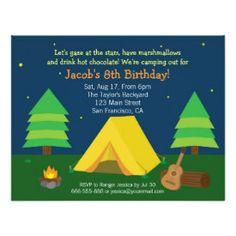 Backyard Sleepover Camping Birthday Party For Boys Invitation