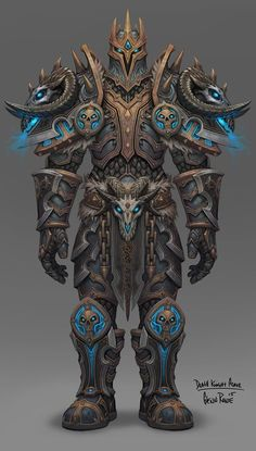 Glenn Rane | https://www.facebook.com/GlennRaneArt/ | The full Deathknight armor set I designed for Legion #Deathknight #worldofwarcraft #warcraft #blizzard #glennrane #platearmor