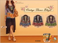 Vintage Flower Blazer (inner not included)  Price : Rp 78.000 Brand : Haylie Code : AL10558 Material : chiffon cerutti Size : allsize, fit S - L Lingkar dada : 96 cm Panjang : 60 cm Lingkar pangkal lengan : 48 cm Lingkar ujung lengan : 22 cm Panjang lengan : 55 cm