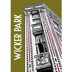 Chicago neighborhood poster featuring Wicker Park's three-story Flat Iron Arts building, built in 1913, at the intersection of North, Damen and Milwaukee Avenues. Also available as a greeting card Abo