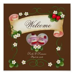 Strawberries & Banner (Customizable Picture) poster ♥You can customize the texts and the picture. ♥Great for a wedding welcome board. You can put it in a frame and stand it On an easel.
