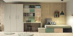 Con los módulos Kubox de Lagrama puedes personalizar la habitación a tu gusto. En esta combinación del modelo Berlín tenemos una cama tatami con cajones con estanerías, armario y zona de estudio. Puedes personalizar medidas, colores y acabados. En Lagrama puedes dejar volar tu imaginación a la hora de diseñar tu habitación, como si de un puzzle se tratara puedes componer la habitación con la forma y color que mejor se adapte a ti. Elije entre múltiples colores, estanterías con cantos cómic…