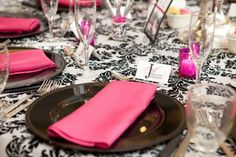 Items for Pink and Black Wedding :  wedding bags beads black damask diy fushia invitations reception sand satin twist ties votives waterbeads Pink Votives