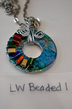 Hand painted beaded washer pendant by DLouiseMemories on Etsy, $12.00