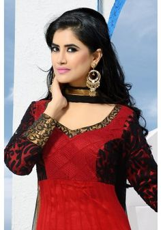 Venetian #Red Net Embroidered #Party and Festival #Anarkali Kameez Sku Code: 41-3364SL519194 $194.00 http://www.sareez.com/catalog/product/view/id/3804/s/venetian-red-net-embroidered-party-and-festival-anarkali-kameez/category/85/