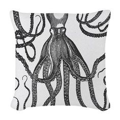 Black Exquisite Ancient Octopus Woven Throw Pillow