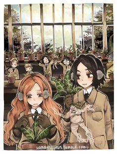 Severus and Lily during Herbology lesson