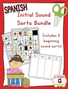 Spanish Beginning Sound Recognition Bundle featuring 6 initial sound sorts: This pack contains sorting pictures in color and in black line versions. $