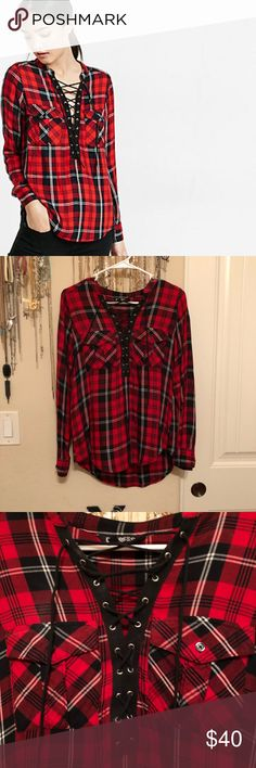 Express Red & Black Plaid Lace-up Shirt Express Red & Black Plaid Lace-up Shirt. Worn once for filming of The Twins: Happily Ever After. Perfect condition. Express Tops
