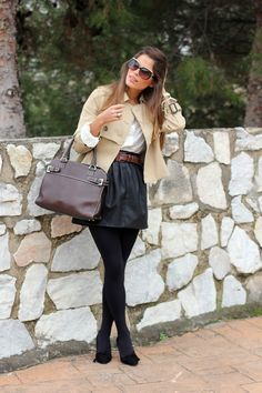 fall outfits womens fashion clothes style apparel clothing closet ideas beige jacket brown handbag black skirt heels sunglasses street