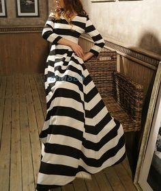 Black and white stripe cotton dress maxi dress evening dress long sleeve dress tunic dress casual dress plus size skirt party skirt  D075 on Etsy, $76.99